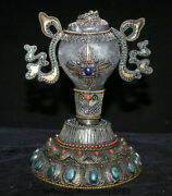 12.4 Tibet Nepal Crystal Silver Wire Inlay Gem Conch Shell Trumpet Horn Statue