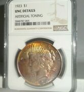 1923 Us 1 Peace Dollar 90 Silver Coin Ngc Unc Details Artificial Toning