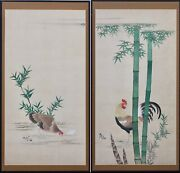 A Pair Of Large Antique Japanese Paintings
