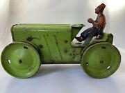 Rare Vintage Louis Marx Wind-up Green Aluminum And Tin Tractor With Litho Farmer