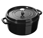 Nib Staub Cast Iron 4.0 Qt Dutch Oven French Oven Cocotte With Lid - Shiny Black