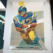 San Diego Chargers Poster Vintage 1974 36x 24 Official Nfl Poster Usa Print