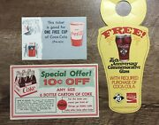 Vintage Coca-cola Coupons And Bottle Topper Retro Cardboard One Free Cup