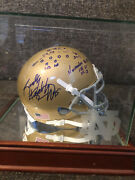 Rudy Ruettiger Signed Notre Dame Helmet W/ Play Score And Custom Engraved Case Coa