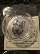 2020 Lynx Multifaceted Animal High Relief Head 25 1oz Pure Silver Coin Canada