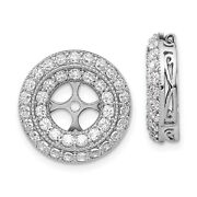 14k White Gold Round Diamond Tiered Halo Stud Earring Jacket 1/2 Ct To 1.90 Ct.