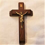 Vintage Jesus On Wooden Crucifix Cross Candles Holy Water Bottle Original Box