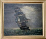 Large Antique G.barbour Oil Painting On Canvas, Seascape, Sailing Ship, Framed