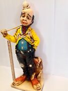 Vintage Large 22.5tall Ceramic Statue Hobo Clown With Hound Dog