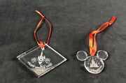 Disney Arribas Brothers Glass Ornaments Lot Of Two