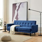 Mid-century Modern Sofa Solid Color Polyester Fabric Sofa For Living Room