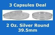 3 Coin Safe Hard Plastic Capsules For 2 Oz Silver Round 39.5mm Thick Holder New