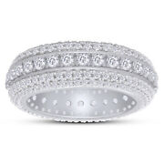 6.2 Ct Lab Grown Diamond Menand039s Eternity Wedding Band Ring 14k White Gold Over