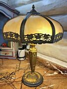 Arts And Crafts 8 Panel Slag Glass Shade And Brass Lamp