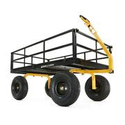 Gorilla Carts Utility Cart Heavy Duty Steel Pneumatic Tires Removable Sides