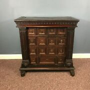 17th Century English Multi Drawer Carved Oak Cabinet Table