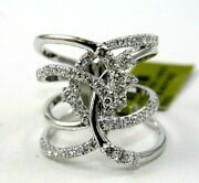 Natural Round Diamond Criss Cross Bypass Ladyand039s Ring Band 14k White Gold 1.34ct