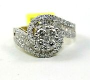 Natural Round Diamond Bypass Criss Cross Cluster Ring Band 14k White Gold 2.18ct