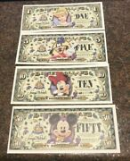 Disney Dollars, 50th Anniversay Set, All A Series, Includes 1,5,10 And 50
