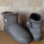 Ugg Classic Mini Bailey Button Bling Gray Grey Suede Fur Boots Size Us 7 Women
