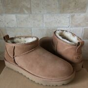 Ugg Classic Ultra Mini Chestnut Water-resistant Suede Boots Size Us 8 Womens