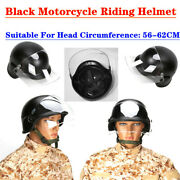 Black Outdoor Motorcycle Riding Helmet With High-density Goggles And Soft Interior