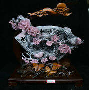 16.4china Natural Xiu Pink Jade Carving Plum Blossom Flower Birds Branch Statue