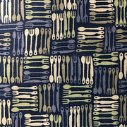 Bty Silverware Eat Out Restaurant Server Cotton Fabric Quilt Blue