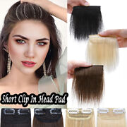 One Piece Short Clip In 100 Remy Human Hair Extensions Toupee Base Hair Pad T17
