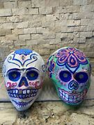 Day Of The Dead Mexican Paper Mache Skull W/glitter Eyes Lot 2