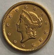 1849 Liberty Head One Dollar Gold Coin Type 1 Open Wreath No L