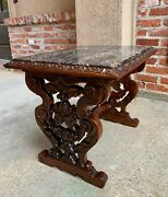 19th Century French Carved Walnut Side Accent Table Marble Top Coffee Louis Xv