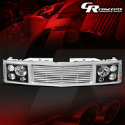 Black Headlight+silver Fence Rover Grille For 1994-2000 Chevy Gmc C/k 1500-3500