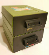Pair 1972 Sterling Plastics Self Stacking Check File 273 Green Drawer Cabinets