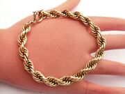 Fab Mens Solid 18ct Gold French Heavy Rope Link Bracelet 9.0 Inch 15.6 Grams
