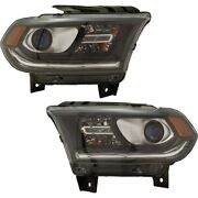 Pair Set Of 2 Headlights Lamps 68299134ad 68299135ad For Dodge Durango 16-20