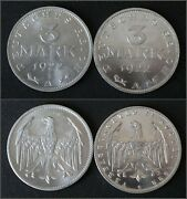 2 Different Coins X 3 Mark 1922 - Km 28 And Km 29 - Weimar - 10183