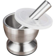 10xmortar And Pestle Sets 18/8 Brushed Stainless Steel Spice Grinder Pesto