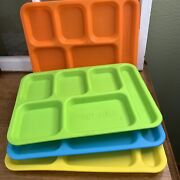 4 Vintage Lunch Cafeteria Trays 6-section Cool Drink Hot Food Assorted Colors