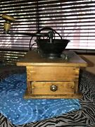 Large Antique Iron And Wood Coffee Grinder