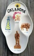Oklahoma Decorative Plate Dish Ok Will Rogers Buffalo Indians Oil Well Vintage