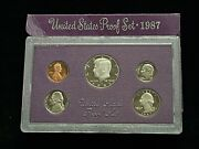 1987-s Us Mint 5-coin Uncirculated Proof Set W/original Case Box And Literature R