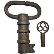Rare Antique Trick Padlock - Lock And Key - Indian States Ca 18-20th Century Old A