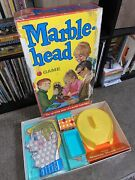 1969 Marble Head Complete Ideal Board Game Vintage Fun Usa With Glass Marbles