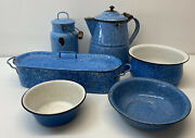 Early 20th Century Blue And White Graniteware Six Pieces