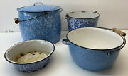 Early 20th Century Blue And White Graniteware Four Pieces