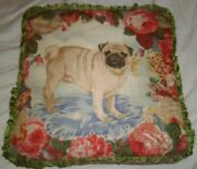 Custom French Country Cottage Floral Dog Pug Down Feather Fill Pillow W Ruffles