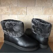 Ugg Classic Berge Mini Black Leather Shearling Cuff Ankle Boots Size Us 7 Womens