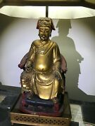 Chinese, Japanese Dignitary Table Lamp - Antique Hand Carved Wood Sculpture