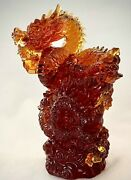 Rare Liuli New Workshop Amber Art Glass Chinese Dragon Le 513/998 Signed